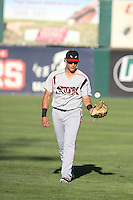 Nick Torres (13) of the Lake Elsinore Storm throws before a game against the Lancaster JetHawks at The Hanger on August 29, 2015 in Lancaster, California. Lancaster defeated Lake Elsinore 7-4. (Larry Goren/Four Seam Images)