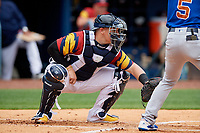 Toledo Mud Hens catcher Kade Scivicque (4) during an International League game against the Durham Bulls on July 16, 2019 at Fifth Third Field in Toledo, Ohio.  Durham defeated Toledo 7-1.  (Mike Janes/Four Seam Images)
