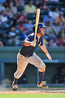 Left fielder Kevin Kaczmarski (10) of the Columbia Fireflies bats in a game against the Greenville Drive on Sunday, May 8, 2016, at Fluor Field at the West End in Greenville, South Carolina. Greenville won, 5-4. (Tom Priddy/Four Seam Images)
