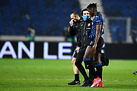 Duvan Zapata of Atalanta BC leaves the pitch injured during the Champions League round of 16 football match between Atalanta BC and Real Madrid at Atleti azzurri d'Italia stadium in Bergamo (Italy), February, 24th, 2021. Photo Image Sport  / Insidefoto