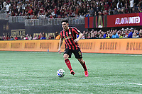 ATLANTA, GA - MARCH 07: ATLANTA, GA - MARCH 07: Atlanta United midfielder Ezequiel Barco dribbles the ball during the match against FC Cincinnati, which Atlanta won, 2-1, in front of a crowd of 69,301 at Mercedes-Benz Stadium during a game between FC Cincinnati and Atlanta United FC at Mercedes-Benz Stadium on March 07, 2020 in Atlanta, Georgia.