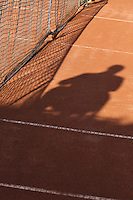 2013-08-13, Netherlands, Raalte,  TV Ramele, Tennis, NRTK 2013, National Ranking Tennis Champ,  Shadow of umpire on court<br /> <br /> Photo: Henk Koster