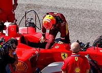 13th September 2020; Mugello race track, Scarperia e San Piero, Tuscany, Italy ; Formula 1 Grand Prix of Tuscany, Race Day;  Mick Schumacher GER prepares to drive the Ferrari F2004 of his father Michael SchumacherScarperia Italy