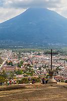 Antigua, Guatemala.  View from Cerro de la Cruz.  Agua Volcano in background.