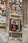 United Kingdom, England, Warwickshire, Stratford-upon-Avon: Monument to William Shakespeare inside the Holy Trinity Church, where Shakespeare is buried