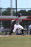 Dilan Rosario (43) of Leadership Christian Academy High School in Morovis, Puerto Rico during the Under Armour Baseball Factory National Showcase, Florida, presented by Baseball Factory on June 12, 2018 the Joe DiMaggio Sports Complex in Clearwater, Florida.  (Nathan Ray/Four Seam Images)