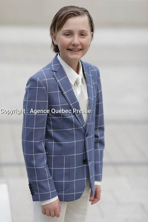 Le jeune comedien et chanteur Jean-Gilles Gadoury, 12 ans  lors du 19e edition du Bal du Children  le 17 mai 2018 a la gare Windsor<br /> <br /> <br /> PHOTO : Agence Quebec Presse