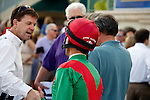 Jockey John Velazquez and trainer Graham Motion exchange congratulations after winning  the Palm Beach Stakes(G3T) with Howe Great at Gulfstream Park, Hallandale Beach Florida. 03-11-2012