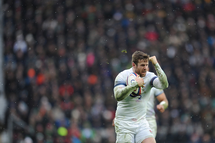 Elliot Daly of England celebrates during the NatWest 6 Nations match between England and Ireland at Twickenham Stadium on Saturday 17th March 2018 (Photo by Rob Munro/Stewart Communications)