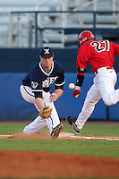 Xavier Musketeers Ben Thomas #28 during a game vs. the Illinois State Redbirds at Chain of Lakes Stadium in Winter Haven, Florida;  March 5, 2011.  Illinois State defeated Xavier 7-6.  Photo By Mike Janes/Four Seam Images