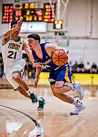9 February 2019: University at Albany Great Dane Guard Antonio Rizzuto, a Freshman from York, PA, in second-half action against the University of Vermont Catamounts at Patrick Gymnasium in Burlington, Vermont. The Catamounts defeated the Danes 67-49 in their America East matchup. Mandatory Credit: Ed Wolfstein Photo *** RAW (NEF) Image File Available ***