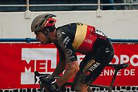 3rd October 2021, Paris–Roubaix Mens Cycling tour;  Wout Van Aert during the Paris–Roubaix which is famous for its uneven cobblestone course.
