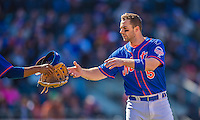 21 April 2013: New York Mets third baseman David Wright is handed his cap and glove during a game against the Washington Nationals at Citi Field in Flushing, NY. The Mets shut out the visiting Nationals 2-0, taking the rubber match of their 3-game weekend series. Mandatory Credit: Ed Wolfstein Photo *** RAW (NEF) Image File Available ***