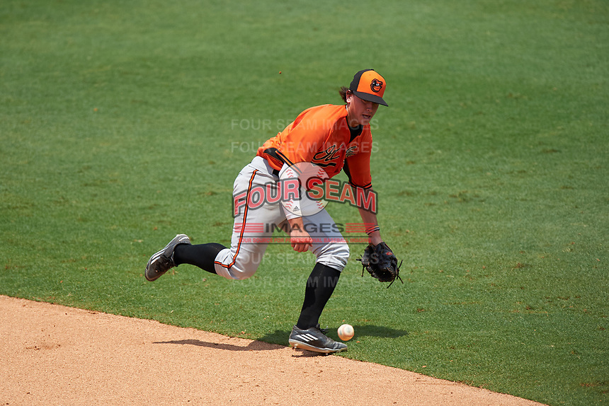 Tyler Daughtry (3) of Veterans High School in Kathleen, Georgia playing for the Baltimore Orioles scout team during the East Coast Pro Showcase on July 30, 2015 at George M. Steinbrenner Field in Tampa, Florida.  (Mike Janes/Four Seam Images)
