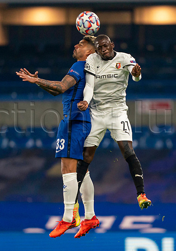 4th November 2020, Stamford Bridge, London, England;  Chelseas Emerson challenges for a header with Rennes Hamari Traore during the UEFA Champions League Group E match between Chelsea and Rennes at Stamford BridgeYER