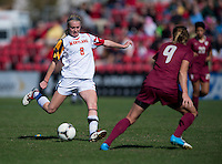 Ashley Spivey (8) of Maryland takes a shot during the game at Ludwing Field in College Park, MD.  Florida State defeated Maryland, 1-0.