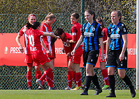 Standard players celebrate the goal of Constance Brackman (20) of Standard during a female soccer game between Standard Femina de Liege and Club Brugge YLA on the 2nd matchday in play off 1 of the 2020 - 2021 season of Belgian Scooore Womens Super League , saturday 17 th of April 2021  in Angleur , Belgium . PHOTO SPORTPIX.BE | SPP | SEVIL OKTEM