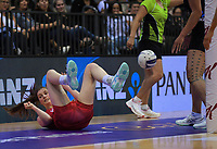 England's Sophie Drakeford-Lewis in action during the Cadbury Netball Series Taini Jamison Trophy match between New Zealand Silver Ferns and England Roses at Claudelands Arena in Hamilton, New Zealand on Wednesday, 28 October 2020. Photo: Dave Lintott / lintottphoto.co.nz