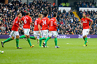 Saturday, 9 March 2013<br /> <br /> Pictured: Luke Moore of Swansea City celebrate with teamates<br /> <br /> Re: Barclays Premier League West Bromich Albion v Swansea City FC  at the Hawthorns, Birmingham, West Midlands