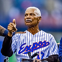 25 March 2019: Former Montreal Expos Manager Filipe Alou acknowledges cheers from the crowd after the pre-game ceremonies commemorating the 50-year anniversary of the Expos prior to an exhibition game between the Toronto Blue Jays and the Milwaukee Brewers at Olympic Stadium in Montreal, Quebec, Canada. The Brewers defeated the Blue Jays 10-5 in the first of two MLB pre-season games in the former home of the Montreal Expos. Mandatory Credit: Ed Wolfstein Photo *** RAW (NEF) Image File Available ***
