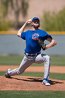 Chicago Cubs relief pitcher Stephen Ridings (45) delivers a pitch to the plate during an Extended Spring Training game against the Colorado Rockies at Sloan Park on April 17, 2018 in Mesa, Arizona. (Zachary Lucy/Four Seam Images)