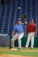 Charlotte Stone Crabs first baseman Grant Kay (2) stretches for a throw during a game against the Clearwater Threshers on April 12, 2016 at Bright House Field in Clearwater, Florida.  Charlotte defeated Clearwater 2-1.  (Mike Janes/Four Seam Images)