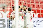 Sevilla FC' Juan Jordan, Lucas Ocampos, Jules Kounde, Youssef En-Nesyri and Suso Fernandez celebrate goal during La Liga match. February 6,2021. (ALTERPHOTOS/Acero)