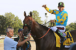 August 2, 2015. American Pharoah, Victor Espinoza up, wins the  Grade I William Hill Haskell Invitational Stakes, one and 1/8 miles on the dirt  for three year olds at Monmouth Park in Oceanport, NJ. Bob Baffert is trainer; Ahmed Zayat is owner. Joan Fairman Kanes/ESW/CSM