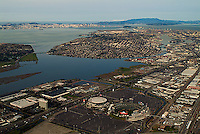 aerial photograph from the Oakland Coliseum to Alameda Island and San Francisco