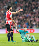 Raul Garcia (l) of Athletic Club reacts as he helps Andres Iniesta Lujan of FC Barcelona after referee David Fernandez Borbalan shows him the yellow card during their Copa del Rey Round of 16 first leg match between Athletic Club and FC Barcelona at San Mames Stadium on 05 January 2017 in Bilbao, Spain. Photo by Victor Fraile / Power Sport Images