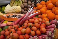 Jaipur, Rajasthan, India.  Fruits and Vegetables at a Streetside Stand.