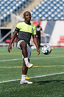 FOXBOROUGH, MA - JULY 25: USL League One (United Soccer League) match. Elma Nfor #15 of Union Omaha during a game between Union Omaha and New England Revolution II at Gillette Stadium on July 25, 2020 in Foxborough, Massachusetts.