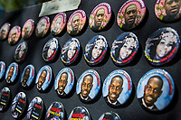 NEW YORK, NEW YORK - June 7: View of some buttons with the face of George Floyd, Breonna Taylor and Ahmaud Arbery on June 7, 2020 in New York, NY. Protesters continue to take to the streets across the United States and other parts of the world after the murder of George Floyd by a white police officer Derek Chauvin. The protests attempt to give voice to the need for African American human rights. (Photo by Pablo Monsalve / VIEWpress )