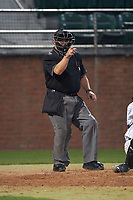 Umpire Ray Parrish during a Stetson Hatters game against the Siena Saints on February 23, 2016 at Melching Field at Conrad Park in DeLand, Florida.  Stetson defeated Siena 5-3.  (Mike Janes/Four Seam Images)