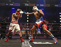 LOS ANGELES - JANUARY 30: Atif Oberlton and Nathan Sharp during their fight on Fox Sports PBC fight night at the Shrine Auditorium and Expo Hall in Los Angeles, California on January 30, 2021. (Photo by Frank Micelotta/Fox Sports)