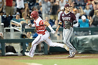 Louisville Cardinals designated hitter Danny Oriente (9) round third base during the ninth inning of Game 10 of the NCAA College World Series against the Mississippi State Bulldogs on June 20, 2019 at TD Ameritrade Park in Omaha, Nebraska. Louisville defeated Mississippi State 4-3. (Andrew Woolley/Four Seam Images)
