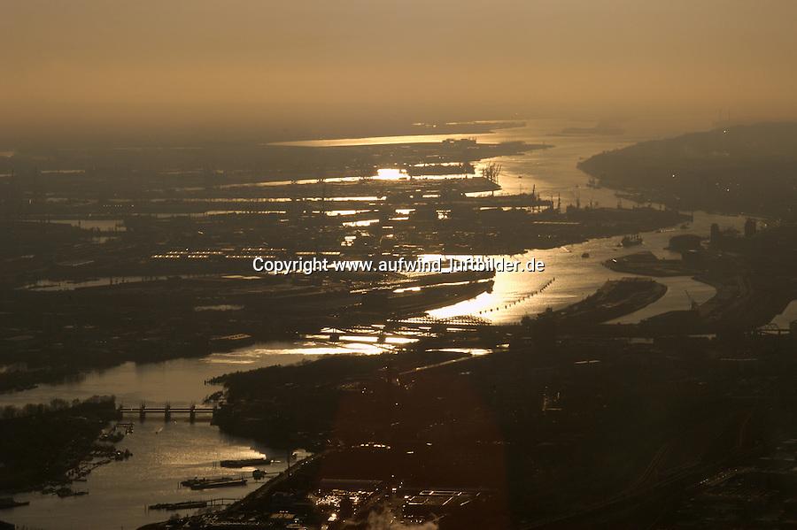 Deutschland, Hamburg, Hafen, Elbe, Sonnenuntergang, Blick von der Billwerder Bucht bis zum Muehlenberger Loch