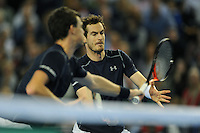 Andy Murray (GB), MARCH 05, 2016 - Tennis : Andy Murray (GB) and brother Jamie Murray (GB) at the net during the Davis Cup by PNB Paribas , World Group first round doubles match between Great Britain and Japan at The Barclaycard Arena, Birmingham, United Kingdom. (Photo by Rob Munro/AFLO)