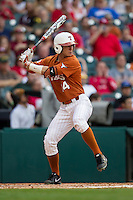 Texas Longhorns outfielder Ben Johnson #14 at bat during the NCAA baseball game against the Houston Cougars on March 1, 2014 during the Houston College Classic at Minute Maid Park in Houston, Texas. The Longhorns defeated the Cougars 3-2. (Andrew Woolley/Four Seam Images)