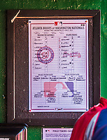 6 April 2014: The Lineup Card for the game between the Washington Nationals and the Atlanta Braves is posted in the Nationals dugout at Nationals Park in Washington, DC. The Nationals defeated the Braves 2-1 to salvage the last game of their 3-game series. Mandatory Credit: Ed Wolfstein Photo *** RAW (NEF) Image File Available ***