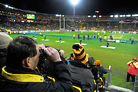 Fans watch the Super Rugby semifinal match between the Hurricanes and Chiefs at Westpac Stadium, Wellington, New Zealand on Saturday, 30 July 2016. Photo: Dave Lintott / lintottphoto.co.nz