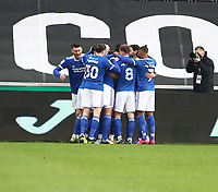 20th March 2021; Liberty Stadium, Swansea, Glamorgan, Wales; English Football League Championship Football, Swansea City versus Cardiff City; Cardiff City players celebrate after Aden Flint of Cardiff City scored Cardiff City first goal to make it 0-1 in the 8th minute