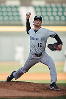Hudson Valley Renegades starting pitcher Beck Way (12) in action against the Winston-Salem Dash at Truist Stadium on August 28, 2021 in Winston-Salem, North Carolina. (Brian Westerholt/Four Seam Images)