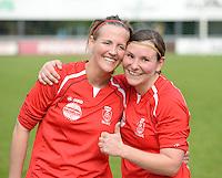Finale Beker van West-Vlaanderen Dames : FC Menen United - KEG Gistel : Sara Boncquet (l) en Kimberly Moerkerke (r)<br /> foto VDB / BART VANDENBROUCKE