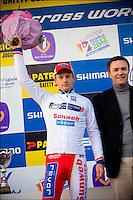 Kevin Pauwels Belgio, secondo e leader della Coppa del Mondo.Lievin Francia 15/1/2012.Coppa del Mondo di Ciclocross.Foto Insidefoto / JB Autissier / Panoramic