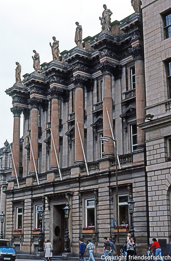 Edinburgh: Bank of Scotland, St. Andrew's Square.  Corinthian columns supporting statues by sculptor A H Ritchie.  Photo '90.