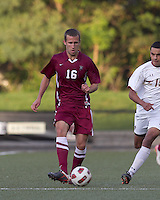 Harvard University defender Tim Linden (16) passes the ball. Boston College defeated Harvard University, 2-0, at Newton Campus Field, October 11, 2011.
