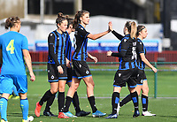 Brugge's players with Brugge's Charlotte Laridon and Brugge's Marie Minnaert celebrating after scoring a goal during a female soccer game between the women teams of Club Brugge YLA Dames and Union Saint-Ghislain Tertre-Hautrage Ladies on the 1/16 th qualifying round for the Belgian Womens Cup 2020  2021 , on saturday 26 th of September 2020  in Brugge , Belgium . PHOTO SPORTPIX.BE | SPP | DAVID CATRY