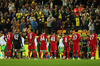 21st September 2021; Carrow Road, Norwich, England; EFL Cup Footballl Norwich City versus Liverpool; The Liverpool squad line up before kick off with high squad number in their starting 11