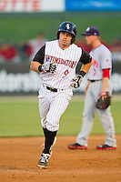 Kale Kiser (9) of the Kannapolis Intimidators rounds the bases after hitting a home run against the Hagerstown Suns at CMC-Northeast Stadium on May 16, 2013 in Kannapolis, North Carolina.  The Suns defeated the Intimidators 10-7.   (Brian Westerholt/Four Seam Images)